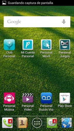 Homescreen con algunas de las apps de Personal.