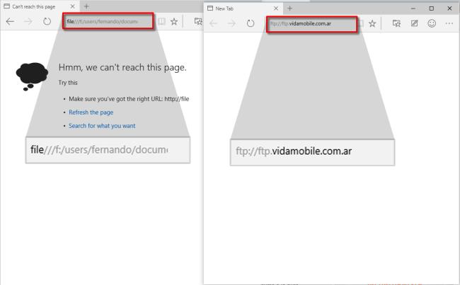 Con el uso de los protocolos file:/// y ftp:// en la ventana de Spartan, podemos comprobar rápidamente que los componentes ActiveX ya no están presente de forma nativa en este navegador web.