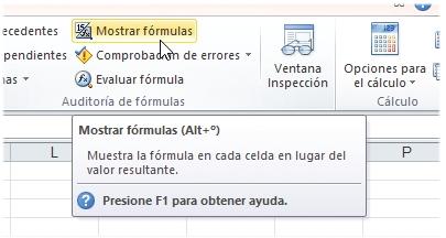Con este botón activamos la modalidad [Mostrar fórmulas]. Está en la ficha [Fórmulas] de la cinta de opciones.