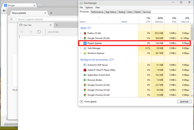 Con solo iniciar los navegadores web Spartan, Chrome y Firefox, podemos notar que el consumo de memoria del browser de Redmond es muy bajo respecto a sus competidores directos.