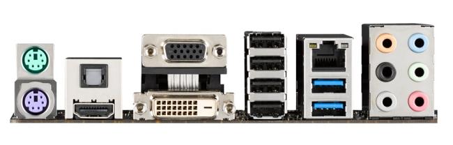 El panel trasero tiene las salidas de video y también conector de audio digital. Llama la atención la presencia de conectores ps/2 para mouse y teclado.