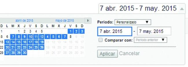 Selección de fechas en Google Analytics