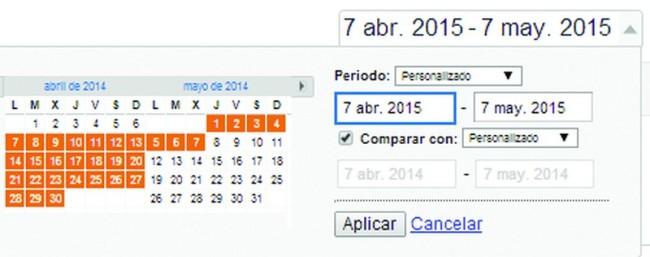 Comparación de fechas en Google Analytics