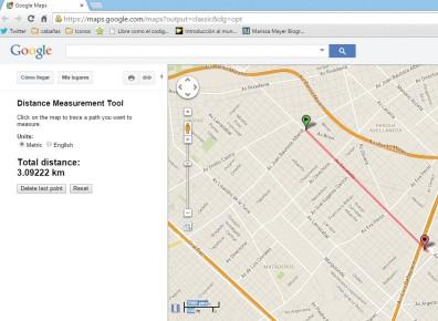 La herramienta medición de distancias nos indicará, en el panel izquierdo de Maps, la distancia total entre dos o más puntos indicados en el mapa.