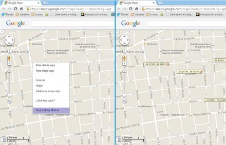 Desde el menú contextual, Maps nos ofrece la opción de desplegar uno o más puntos, a través de un globo, que nos indiquen la latitud y longitud del punto que marcamos.