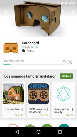 Cardboard: la aplicación oficial Google Cardboard aplica tanto para las gafas de Google como para la fabricada por Frávega.