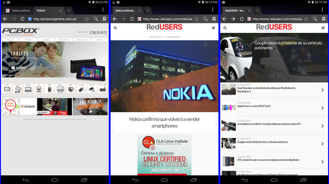Tablet PCB-750i: Android Browser es el navegador por defecto.