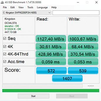 Las velocidad de lectura y escritura son impresionantes. Aquí vemos los resultados del benchmark AS.