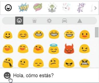 Para enviar un emoji, en la parte inferior de esta ventana hacemos clic en [Añadir un emoticono o una pegatina] y luego seleccione una de las opciones disponibles.