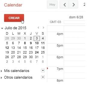 Ingresamos a www.google.com/calendar. En el panel lateral hacemos clic en [Crear] o hacemos doble clic en una hora determinada del calendario central.