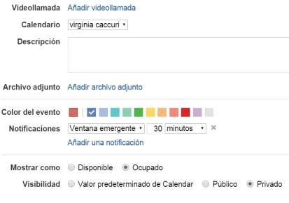 Desde la parte inferior de esta página se puede adjuntar archivos, identificar el evento con un color específico, configurar las notificaciones (tiempo y forma del recordatorio) y definir las opciones de visibilidad y los permisos. Finalmente, regresamos a la parte superior de esta página y hacemos clic en [Guardar].