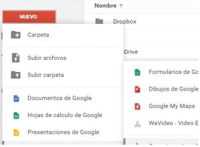 Accedemos a nuestra cuenta de Google Drive. En el panel lateral hacemos clic en [Nuevo] y en el menú desplegable seleccionamos [Más/Conectar más aplicaciones].