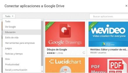 En la ventana de aplicaciones podemos utilizar el menú desplegable para seleccionar una categoría y filtrar la búsqueda. Las aplicaciones ya conectadas a Google Drive aparecen con una banda transversal de color verde.
