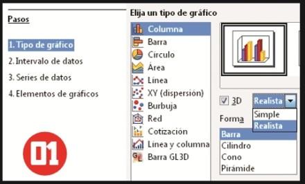 En una hoja de Calc seleccionamos los datos a representar. Desde la barra de herramientas superior hacemos clic en [Gráfico]. Se abrirá la ventana Asistente de gráficos. Hay que seleccionar el tipo de gráfico y opciones de apariencia. Luego, hacemos clic en [Siguiente].