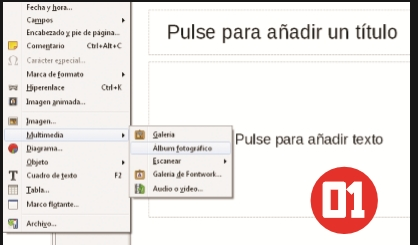 Iniciamos el lanzador de aplicaciones de LibreOffice y en el panel izquierdo seleccionamos [Presentación de Impress]. Una vez abierto el programa, vamos al menú [Insertar], hacemos clic en [Multimedia] y luego elegimos [Álbum fotográfico].