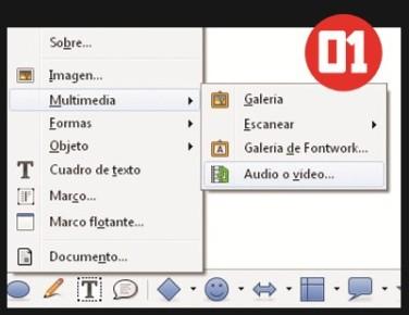 Abrimos un documento de LibreOffice Writer. En el menú [Insertar] seleccionamos [Multimedia/Audio o video]. También podemos escanear un documento.