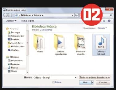 En la ventana Insertar audio o video seleccionamos el archivo multimedia que deseamos colocar en el documento y luego hacemos clic en [Abrir].