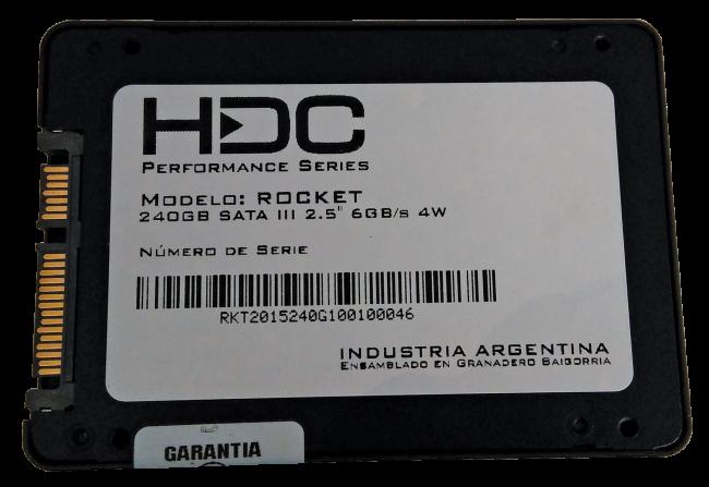 La unidad de HDC utiliza los conectores estándares SATA. Aquí vemos la etiqueta trasera.