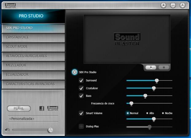 El software permite aprovechar de buena manera el poderoso chip de sonido Creative integrado en el motherboard.