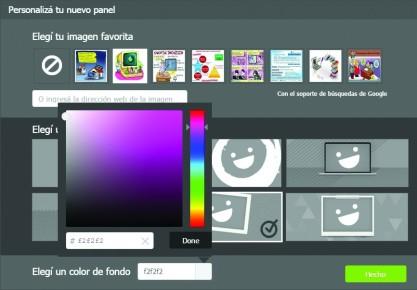 3-En la siguiente ventana elegimos una imagen, una plantilla y un color de fondo. Luego hacemos clic en [Hecho].