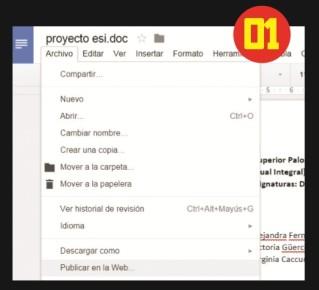Creamos un nuevo documento de Google o abrimos uno existente. Desde el menú [Archivo] seleccionamos [Publicar en la Web].