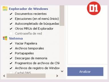 Para realizar una limpieza de archivos temporales debemos seleccionar los directorios y tipos de archivos, tanto de Windows como de los programas. Luego presionamos el botón [Analizar].