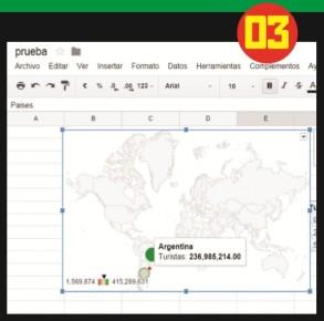 Al pasar el puntero del mouse por los puntos marcado en el mapa se podrán ver los datos de la serie, como en cualquier gráfico.