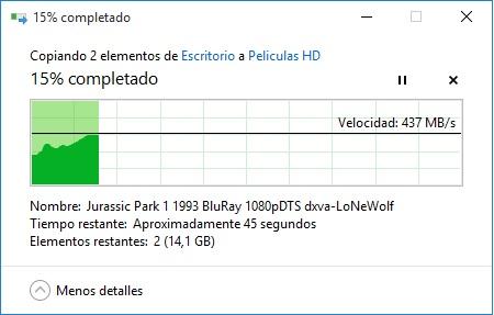 Copia de SSD a HDD 15 GB