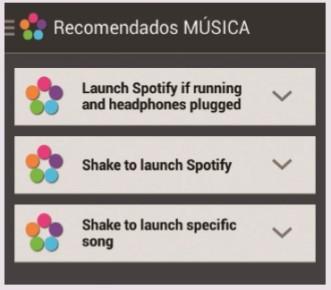 """Seleccionamos una de las categorías y, luego, una de las acciones recomendadas. Para este ejemplo elegimos [Música]. Dentro de las acciones encontramos una que nos permite lanzar una canción específica cuando agitamos el teléfono. Las opciones pueden complejizarse más. Por ejemplo, arriba vemos una que dice """"Lanzar Spotify si se está corriendo y los auriculares están enchufados"""". Para continuar presionamos sobre [GET IT!]."""