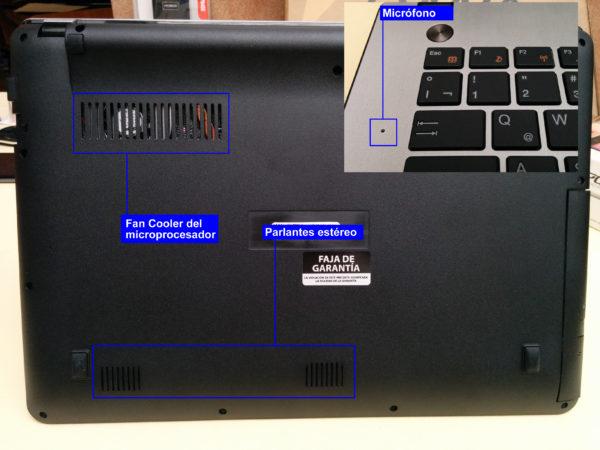 Fan-Cooler para ventilar el micro, parlantes estéreo, y micrófono en la base superior.