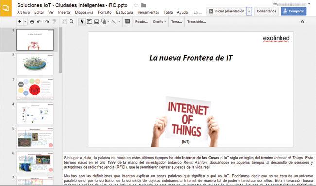 Presentations, integrante de Google Docs, permite crear presentaciones estilo Powerpoint, reproducirlas, y hasta editar archivos creados con la herramienta de Microsoft.