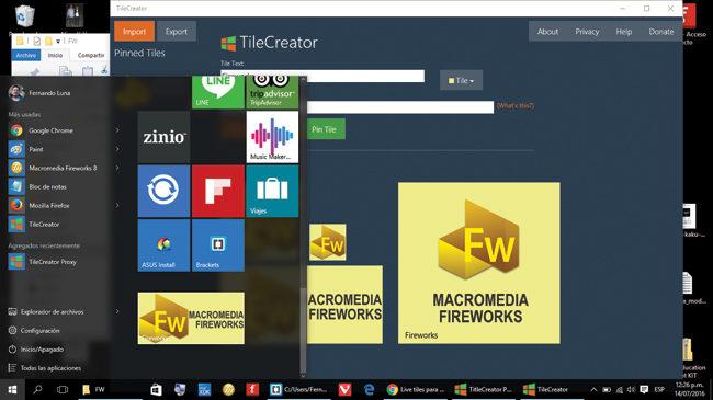 Nuestro ícono ha sido agregado exitosamente al apartado de Tiles del nuevo menú Inicio de Windows 10.