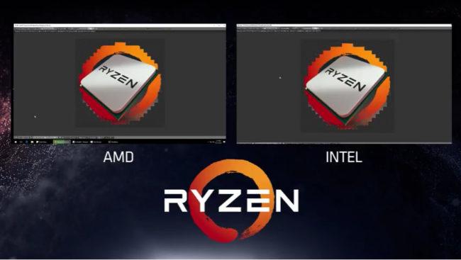 Ryzen versus el Core i7 6900K en Blender. Aunque el desempeño es similar, el producto de AMD ofrece menor consumo y se lanzaría a un precio más bajo.