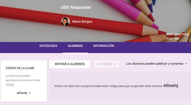 Los permisos de los alumnos se configuran con el botón desplegable de la derecha.