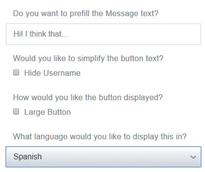 Las opciones para el botón de Twitter son muchas, e incluyen por ejemplo la posibilidad de incluir un mensaje de muestra predeterminado.