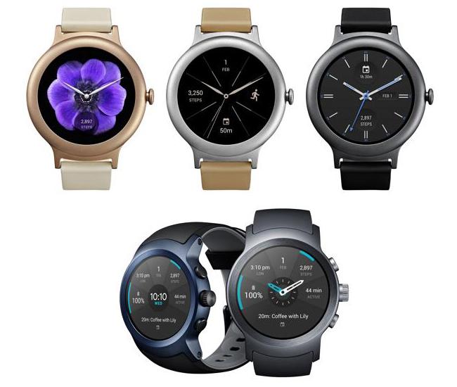 Así lucen los nuevos relojes de LG con Android Wear 2.0. Arriba, el Watch Style; abajo el Wacth Sport.