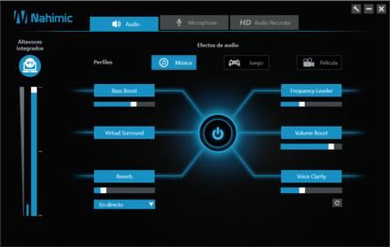 El audio, que cuenta con parlantes DynAudio, se ve reforzado con la inclusión del software Nahimic.