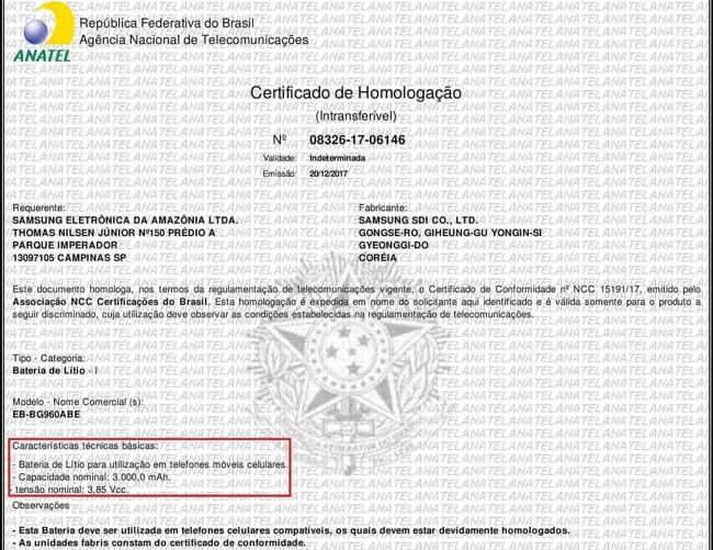 El documento de Agencia Nacional de la Telecomunicaciones de Brasil en el cual aparece el Galaxy S9 de Samsung.