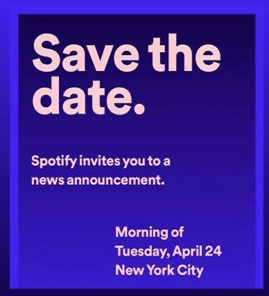 La invitación que Spotify envió a los medios de prensa.