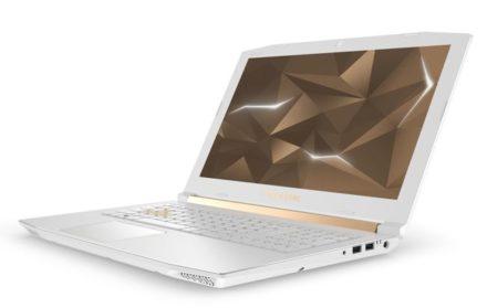 Así luce la Helios 300 Helios Edition, con sus tonos blancos y dorados.