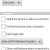 Screenshot nos ofrece muchas opciones configurables, entre ellas la posiblidad de capturar al agitar el teléfono.